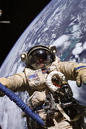 Space suit - Orlan space suit, worn by astronaut Michael Fincke outside the International Space Station