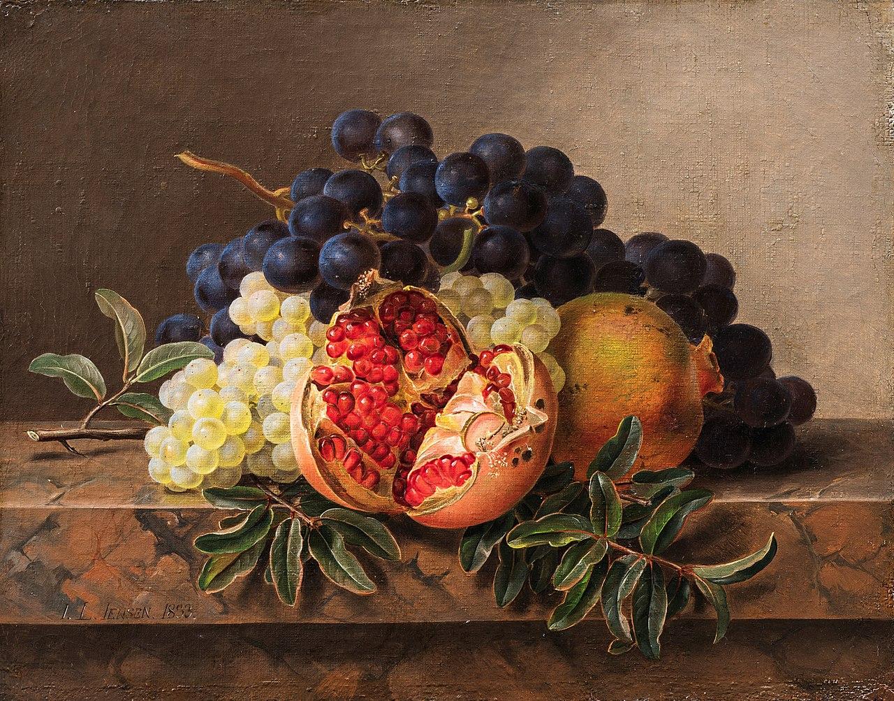 J.L. Jensen, Granatæble, grønne og blå druer på stenkarm, 1833, 0219NMK, Nivaagaards Malerisamling.jpg