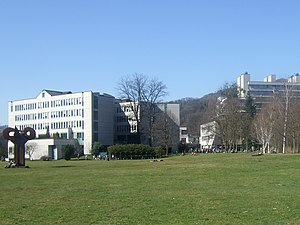 Some of the buildings on the campus of the Joh...