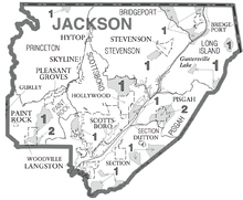 Jackson county alabama wikipedia map of jackson county showing census subdivisions sciox Images