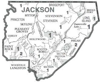 Jackson County, Alabama - Map of Jackson County showing census subdivisions