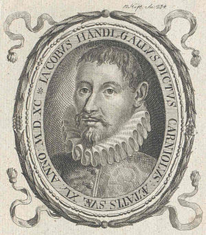 Jacobus Gallus - Jacobus Gallus, a woodcut portrait from 1590