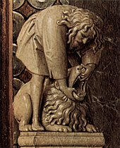Samson holds open the jaws of a lion with his bare hands; right of Mary