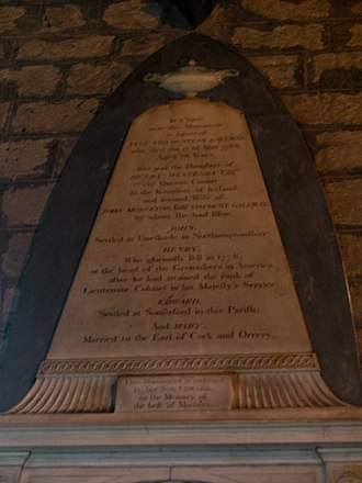Edward Monckton - Memorial to Jane Westenra, with names of her husband and children, Brewood parish church