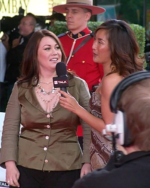 Jann Arden - Arden (left), being interviewed on television, 2006