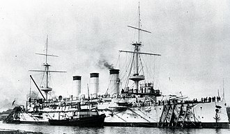 Japanese cruiser Yakumo - Yakumo at anchor, 1900