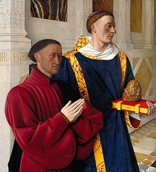 Jean Fouquet, Etienne Chevalier with St. Stephen, Gemäldegalerie Berlin