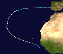 Storm path of Hurricane Jeanne. It starts near the west coast of Africa and curves in a wide half-circle course in the eastern Atlantic, with the storm becoming extratropical near the Azores