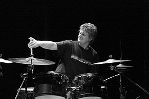 American drummer Jim Black, performing with th...