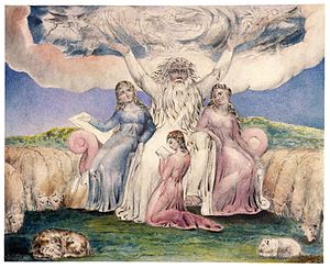 Jemima (Bible) - Job with his three daughters by William Blake