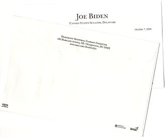 Democratic Senatorial Campaign Committee - DSCC has long focused on direct mail fundraising. Here, excerpts from a 2008 example with a plea from Senator and Vice-Presidential candidate Joe Biden.