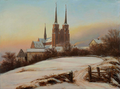 Johan Christian Dahl - View of the Cathedral of Roskilde in winter - 1828.png