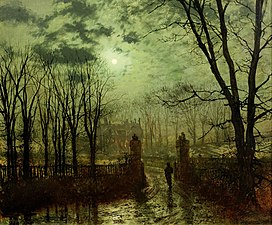 John Atkinson Grimshaw, At The Park Gate, 1878.jpg