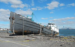 Effects of Hurricane Sandy in New York - Tanker beached on Front Street, Staten Island
