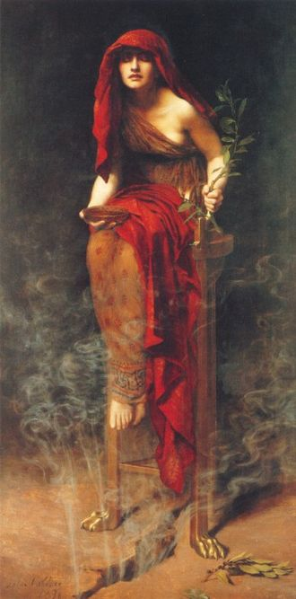 Sibyl - Priestess of Delphi (1891) by John Collier, showing the Pythia sitting on a tripod with vapor rising from a crack in the earth beneath her