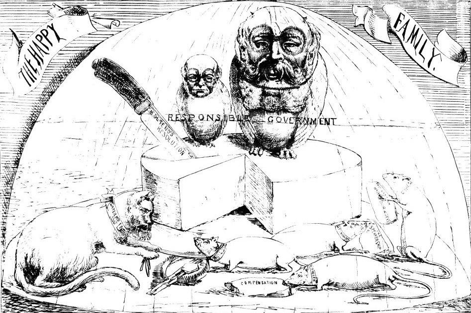 John Molteno and Saul Solomon preside over Cape Government - Zingari cartoon 1873