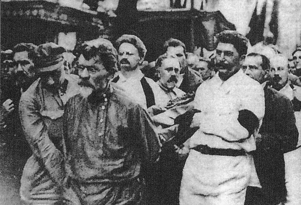 Joseph Stalin and Leon Trotsky at Felix Dzerzhinsky funeral
