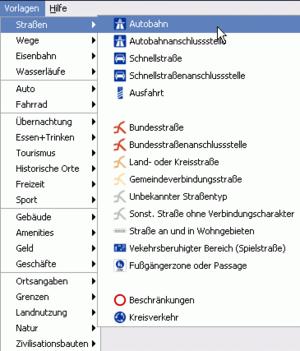 JOSM - JOSM road presets menu in German