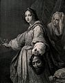 Judith with Holofernes' head; her maid behind her. Line engr Wellcome V0034463.jpg