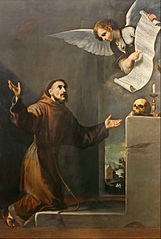 Saint Francis receives the Seven Privileges from the Angel