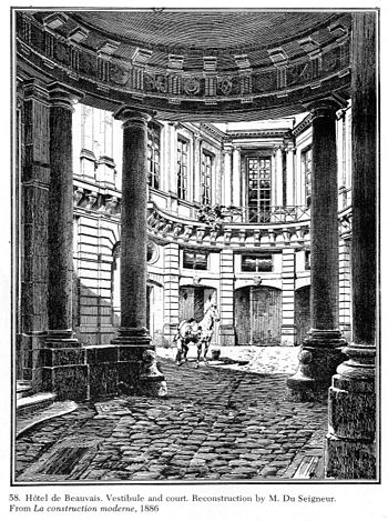 Foundations Of The Original Meval Building With Outline Completed Cour D Honneur Ground Floor First Facade On Rue Saint Antoine