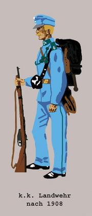 K.k. Landwehr in Marschadjustierung nach 1908