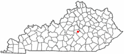 Location of Junction City, Kentucky