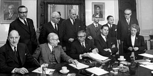 Jelle Zijlstra - Jelle Zijlstra as Prime Minister of the Netherlands during first meeting of his cabinet in 1966.