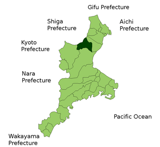 Ise-Kameyama Domain - Location of Kameyama in modern-day Mie Prefecture