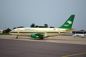 Maya-Maya Airport - Karinou Airlines Boeing 737-200 at Brazzaville Airport, December 2012
