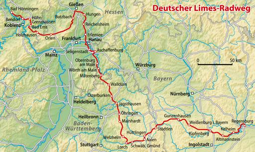 Karte Limes-Radweg