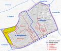 Karte von Hundsturm, ehem. Vorstadt von Wien und dessen Lage in den heutigen Bezirken.png