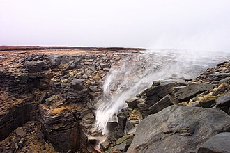Freedom to roam - Kinder Downfall, Derbyshire, England. Kinder Scout was the site of a mass trespass in 1932.