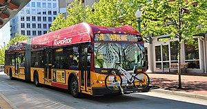 RapidRide B Line - RapidRide bus leaving Bellevue Transit Center