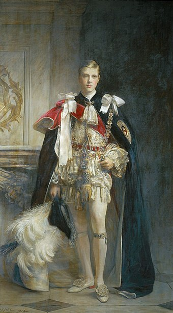 Portrait of Edward in the robes of the Order of the Garter by Arthur Stockdale Cope, 1912 King Edward VIII, when Prince of Wales - Cope 1912.jpg