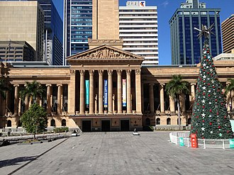 King George Square - King George Square with Christmas tree in December 2013