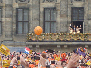 Inauguration of the Dutch monarch - King Willem Alexander and his family at the balcony of the Royal Palace of Amsterdam following the abdication of Queen Beatrix, on April 30, 2013