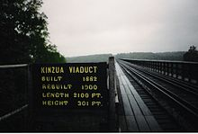View across the bridge from the bridge deck. A sign indicating the bridge's construction year, reconstruction year, height and length is next to the bridge deck.