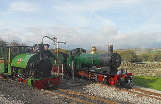 Kirklees Light Railway - Both 0-6-2ST 'Badger' and 2-4-2 'Katie' rest, side by side, at Shelley station