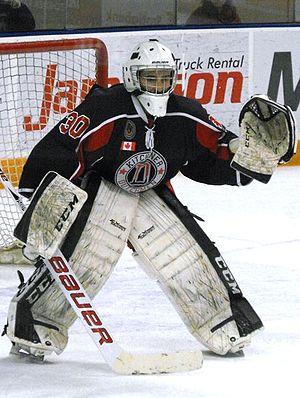 Greater Ontario Junior Hockey League - Kitchener Dutchmen goalie during the 2013–14 season.