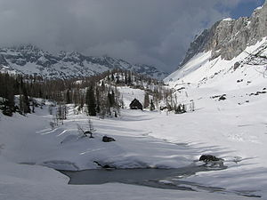 Triglav Lakes Lodge - The Triglav Lakes Lodge in the winter, Double Lake in front