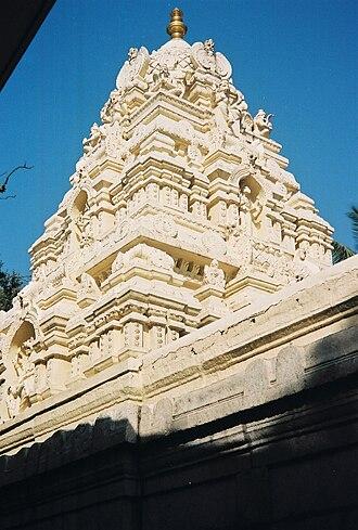 Kote Venkataramana Temple, Bangalore - A shikhara (tower) over a shrine at the Kote Venkataramana temple