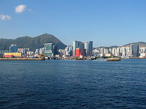 Kowloon Bay - A panoramic view of Kowloon Bay reclamation (left) and Ngau Tau Kok (right) across from it. The old Kai Tak Airport runway is on the left.