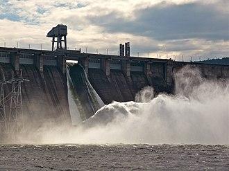 Krasnoyarsk Dam - The dam with one of the spillways open.