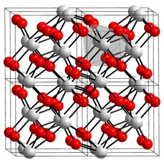 Zirconium dioxide - Image: Kristallstruktur Zirconium(IV) oxid
