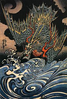 Japanese dragon serpentine creature in Japanese mythology
