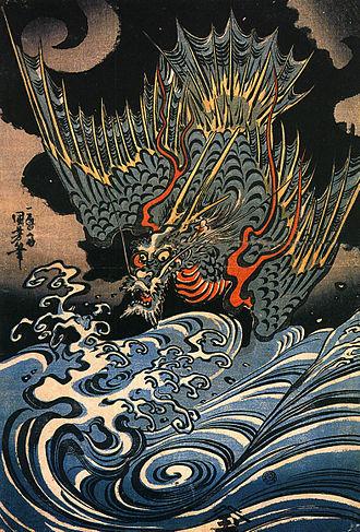 Japanese dragon - Japanese Sea-dragon, by Utagawa Kuniyoshi