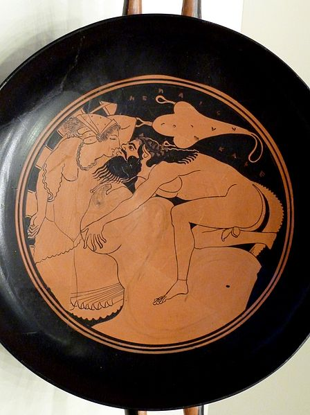 File:Kylix (drinking cup) with a Satyr and Nymph - Getty Villa Collection.jpg