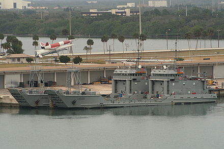 United States Army ships Brandy Station (LCU-2005) and El Caney (LCU-2017) docked in Port Canaveral, Florida. LCU2000 class landing craft.JPG