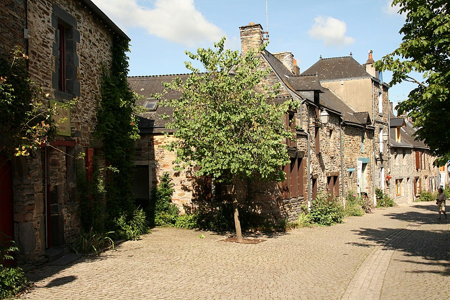 Street Saint-Vincent in La Gacilly, Bretagne, France.